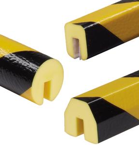 Profilschutz -Protect- Knuffi® aus PU, Länge 5000 mm (Rolle), gelb / schwarz, verschiedene Profile (Modell/Befestigung:  <b>Kreis 40/40/8mm</b>/zum Aufstecken (Art.Nr.: dc10021))