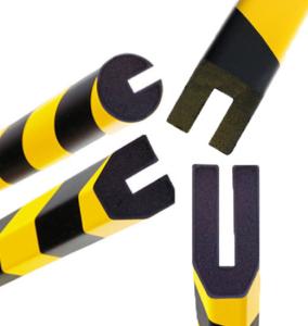 Profilschutz -Safe-, PU, L. 1000mm, verschiedene Profile, zum Aufstecken, hochwertig und flexibel (Modell/Farbe:  <b>Trapez 40/40/8mm</b> verkehrsgelb (RAL 1023)/schwarz (Art.Nr.: 11413))