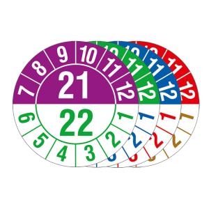 Prüfplakette mit Jahresfarben (jahresübergreifend), Halbjahresplakette, 2021-2025, Bogen (Zeitraum/Farbe: 2021-2022 / violett-grün (Art.Nr.: 30.c1051-21))