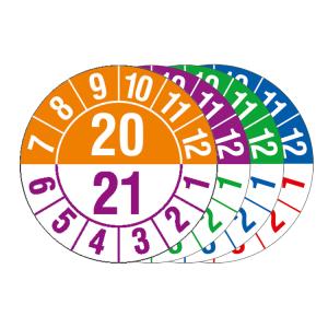 Prüfplakette mit Jahresfarben (übergreifend), Halbjahresplakette, 2020-2024, Bogen (Zeitraum/Farbe: 2020-2021 / orange-violett (Art.Nr.: 30.c1051-20))