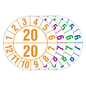 Prüfplaketten mit Jahresfarbe (1 / 2 Jahr), 2020-2023, Bogen (Jahr/Farbe: 2020 / orange (Art.Nr.: 30.c1050-20))