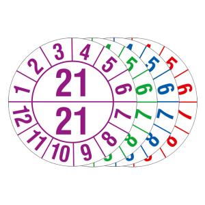 Prüfplaketten mit Jahresfarbe (1 / 2 Jahr), 2021-2024, Bogen (Jahr/Farbe: 2021 / violett (Art.Nr.: 30.c1050-21))
