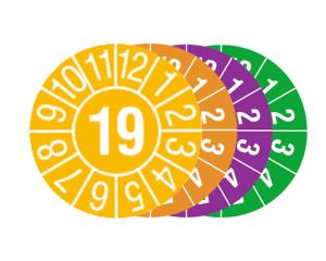 Prüfplaketten mit Jahresfarbe (1 Jahr), 2019-2022, Jahreszahl 2 oder 4-stellig, Bogen