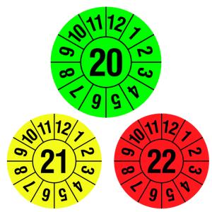 Prüfplaketten mit Jahresfarbe (1 Jahr), 2020-2022, Jahreszahl 2-stellig, Rolle