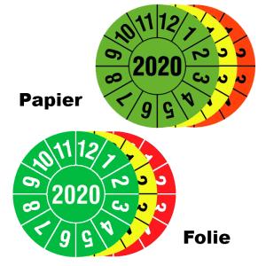 Prüfplaketten mit Jahresfarbe (1 Jahr), 2020-2022, Jahreszahl 4-stellig, Rolle