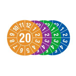 Prüfplaketten mit Jahresfarbe (1 Jahr), 2020-2023, Jahreszahl 2 oder 4-stellig, Bogen