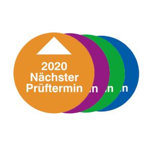 Prüfplaketten mit Jahresfarbe (1 Jahr), 2020-2023, Nächster Prüftermin, Bogen (Jahr/Farbe: 2020 / orange (Art.Nr.: 30.0819-20))