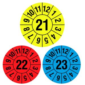 Prüfplaketten mit Jahresfarbe (1 Jahr), 2021-2023, Jahreszahl 2-stellig, Rolle (Jahre/Farbe:  <b>2021</b><br>gelb-schwarz (Art.Nr.: 31.c7000-21))