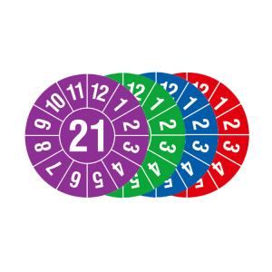 Prüfplaketten mit Jahresfarbe (1 Jahr), 2021-2024, Jahreszahl 2 oder 4-stellig, Bogen