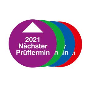 Prüfplaketten mit Jahresfarbe (1 Jahr), 2021-2024, Nächster Prüftermin, Bogen (Jahr/Farbe: 2021 / violett (Art.Nr.: 30.0819-21))