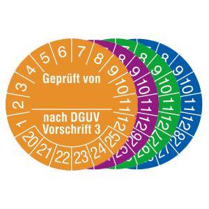 Prüfplaketten mit Jahresfarbe, 2020 / 2025 - 2023 / 2028, Geprüft von... nach DGUV Vorschrift 3 (Zeitraum/Farbe: 2020-2025 / orange (Art.Nr.: 31.c2135-20))