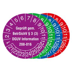 Prüfplaketten mit Jahresfarbe, 2021 / 2026 - 2024 / 2029, Geprüft gem. BetrSichV ... DGUV Information (Zeitraum/Farbe: 2021-2026 / violett (Art.Nr.: 30.c2170-21))