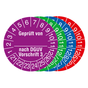 Prüfplaketten mit Jahresfarbe, 2021 / 2026 - 2024 / 2029, Geprüft von... nach DGUV Vorschrift 3 (Zeitraum/Farbe: 2021-2026 / violett (Art.Nr.: 30.c2135-21))