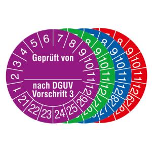 Prüfplaketten mit Jahresfarbe, 2021 / 2026 - 2024 / 2029, Geprüft von... nach DGUV Vorschrift 3 (Zeitraum/Farbe: 2021-2026 / violett (Art.Nr.: 31.c2135-21))