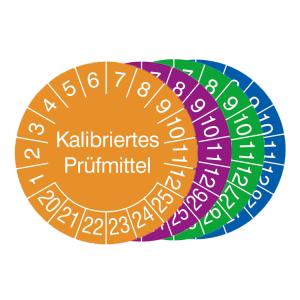 Prüfplaketten mit Jahresfarbe (6 J.), 2020 / 2025 - 2023 / 2028, Kalibriertes Prüfmittel, 15er-Bogen (Zeitraum/Farbe: 2020-2025 / orange (Art.Nr.: 30.3653-20))