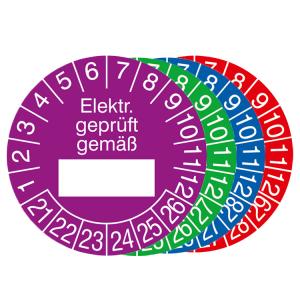 Prüfplaketten mit Jahresfarbe (6 J.), 2021 / 2026 - 2024 / 2029, Elektr. geprüft gemäß..., 15er-Bogen (Zeitraum/Farbe: 2021-2026 / violett (Art.Nr.: 30.0799-21))