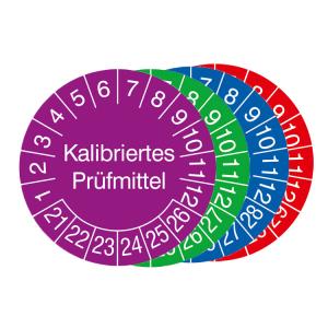 Prüfplaketten mit Jahresfarbe (6 J.), 2021 / 2026 - 2024 / 2029, Kalibriertes Prüfmittel, 15er-Bogen (Zeitraum/Farbe: 2021-2026 / violett (Art.Nr.: 30.3653-21))