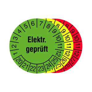 Prüfplaketten mit Jahresfarbe (6 Jahre), 2020 / 2025 - 2022 / 2027, Elektr. geprüft, Rolle