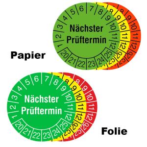 Prüfplaketten mit Jahresfarbe (6 Jahre), 2020 / 2025 - 2022 / 2027, Nächster Prüftermin, Rolle