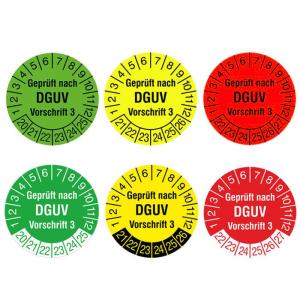 Prüfplaketten mit Jahresfarbe (6 Jahre), 2020 / 2025 - 2022 / 2027, nach DGUV Vorschrift 3, Rolle