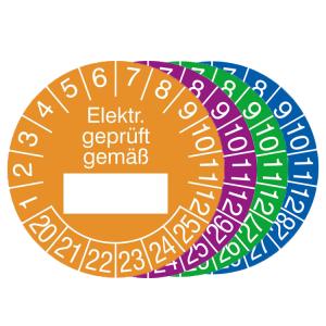 Prüfplaketten mit Jahresfarbe (6 Jahre), 2020 / 2025 - 2023 / 2028, Elektr. geprüft gemäß..., Rolle (Zeitraum/Farbe: 2020-2025 / orange (Art.Nr.: 31.0799-20))