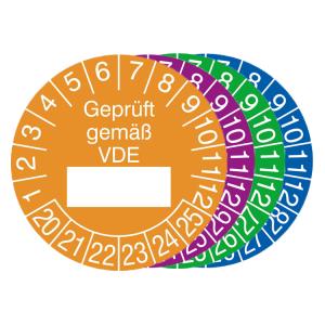 Prüfplaketten mit Jahresfarbe (6 Jahre), 2020 / 2025 - 2023 / 2028, Geprüft gemäß VDE, Rolle (Zeitraum/Farbe: 2020-2025 / orange (Art.Nr.: 31.0807-20))