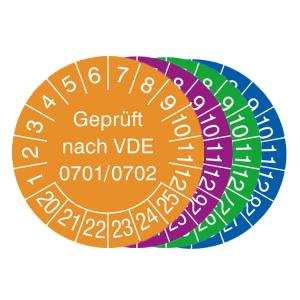 Prüfplaketten mit Jahresfarbe (6 Jahre), 2020 / 2025 - 2023 / 2028, Geprüft nach VDE 0701 / 0702, Rolle (Zeitraum/Farbe: 2020-2025 / orange (Art.Nr.: 31.3713-20))