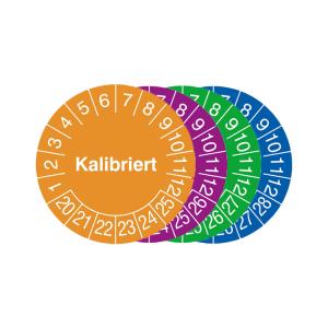 Prüfplaketten mit Jahresfarbe (6 Jahre), 2020 / 2025 - 2023 / 2028, Kalibriert, Rolle