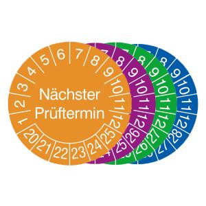 Prüfplaketten mit Jahresfarbe (6 Jahre), 2020 / 2025 - 2023 / 2028, Nächster Prüftermin, Bogen
