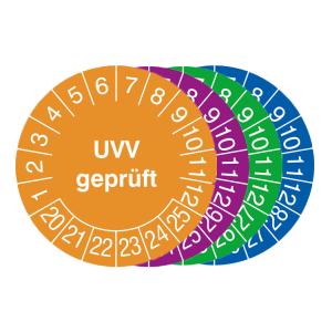 Prüfplaketten mit Jahresfarbe (6 Jahre), 2020 / 2025 - 2023 / 2028, UVV geprüft, Bogen