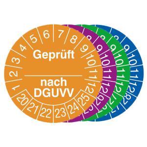 Prüfplaketten mit Jahresfarbe (6 Jahre), 2020 / 2025 - 2023 / 2028, geprüft nach DGUVV, Rolle (Zeitraum/Farbe: 2020-2025 / orange (Art.Nr.: 31.c2120-20))