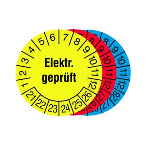 Prüfplaketten mit Jahresfarbe (6 Jahre), 2021 / 2026 - 2023 / 2028, Elektr. geprüft, Rolle