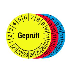 Prüfplaketten mit Jahresfarbe (6 Jahre), 2021 / 2026 - 2023 / 2028, Geprüft, Rolle