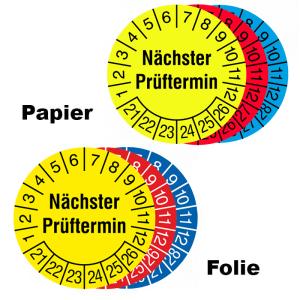 Prüfplaketten mit Jahresfarbe (6 Jahre), 2021 / 2026 - 2023 / 2028, Nächster Prüftermin, Rolle