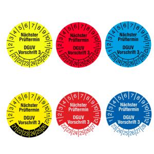 Prüfplaketten mit Jahresfarbe (6 Jahre), 2021 / 2026 - 2023 / 2028, Nächster Prüftermin nach DGUV Vorschrift 3, Rolle