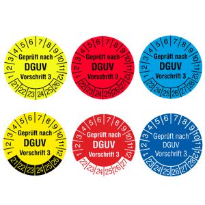 Prüfplaketten mit Jahresfarbe (6 Jahre), 2021 / 2026 - 2023 / 2028, nach DGUV Vorschrift 3, Rolle