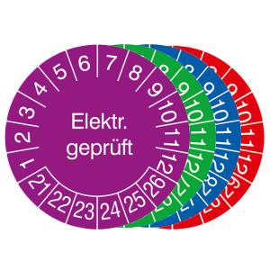 Prüfplaketten mit Jahresfarbe (6 Jahre), 2021 / 2026 - 2024 / 2029, Elektr. geprüft, 15er-Bogen (Zeitraum/Farbe: 2021-2026 / violett (Art.Nr.: 30.3654-21))