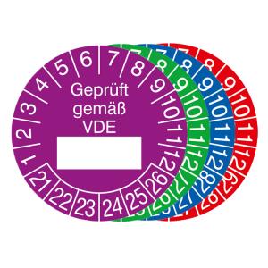 Prüfplaketten mit Jahresfarbe (6 Jahre), 2021 / 2026 - 2024 / 2029, Geprüft gemäß VDE, 15er-Bogen (Zeitraum/Farbe: 2021-2026 / violett (Art.Nr.: 30.0807-21))