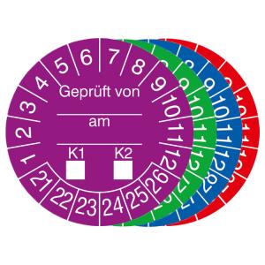 Prüfplaketten mit Jahresfarbe (6 Jahre), 2021 / 2026 - 2024 / 2029, Geprüft von... am..., 15er-Bogen (Zeitraum/Farbe: 2021-2026 / violett (Art.Nr.: 30.0808-21))