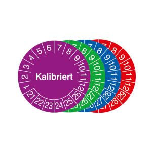 Prüfplaketten mit Jahresfarbe (6 Jahre), 2021 / 2026 - 2024 / 2029, Kalibriert, Bogen