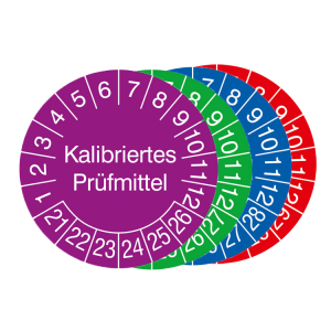 Prüfplaketten mit Jahresfarbe (6 Jahre), 2021 / 2026 - 2024 / 2029, Kalibriertes Prüfmittel, Rolle (Zeitraum/Farbe: 2021-2026 / violett (Art.Nr.: 31.3653-21))