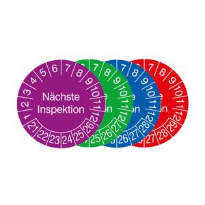 Prüfplaketten mit Jahresfarbe (6 Jahre), 2021 / 2026 - 2024 / 2029, Nächste Inspektion, 15er-Bogen (Zeitraum/Farbe: 2021-2026 / violett (Art.Nr.: 30.0789-21))