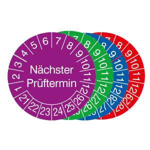 Prüfplaketten mit Jahresfarbe (6 Jahre), 2021 / 2026 - 2024 / 2029, Nächster Prüftermin, Rolle