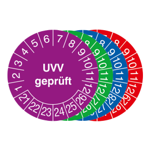 Prüfplaketten mit Jahresfarbe (6 Jahre), 2021 / 2026 - 2024 / 2029, UVV geprüft, Bogen