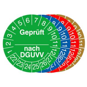 Prüfplaketten mit Jahresfarbe (6 Jahre), 2021 / 2026 - 2024 / 2029, geprüft nach DGUVV, 15er-Bogen (Zeitraum/Farbe: 2021-2026 / violett (Art.Nr.: 30.c2120-21))