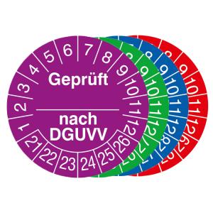 Prüfplaketten mit Jahresfarbe (6 Jahre), 2021 / 2026 - 2024 / 2029, geprüft nach DGUVV, Rolle (Zeitraum/Farbe: 2021-2026 / violett (Art.Nr.: 31.c2120-21))