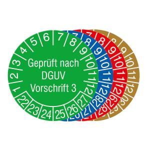 Prüfplaketten mit Jahresfarbe (6 Jahre), 2021 / 2026 - 2024 / 2029, nach DGUV Vorschrift 3, Bogen