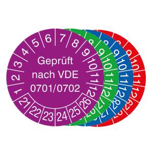 Prüfplaketten mit Jahresfarbe (6 Jahre), 2021 / 2026 - 2024 / 2029, nach VDE 0701 / 0702, 15er-Bogen (Zeitraum/Farbe: 2021-2026 / violett (Art.Nr.: 30.3713-21))