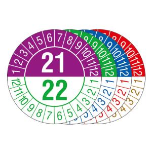 Prüfplaketten mit Jahresfarben (jahresübergreifend, 2 Jahre), 2021 / 2022 - 2024 / 2025, Bogen