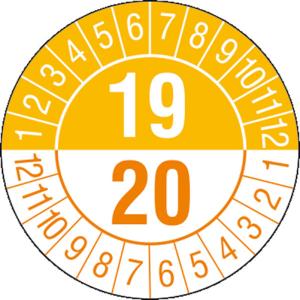 Prüfplaketten mit Jahresfarben (übergreifend, 2 Jahre), 2019 / 2020 - 2022 / 2023, Bogen